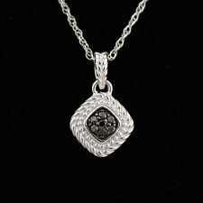 Designer .925 STERLING SILVER & BLACK DIAMOND Small Pendant Necklace! Beautiful!