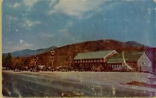 1953 Clark's Trading Street View Old Cars Post White Mountains NH Postcard A14