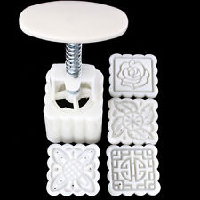 4pcs Stamps 92g Square Flowers Moon Cake Mold Pastry Mooncake Hand DIY Tool