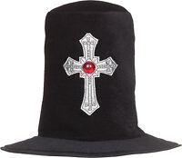 DELUXE VAMPIRE DRACULA BLACK VELVET TOP HAT & CROSS HALLOWEEN FANCY DRESS V20445
