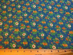 Vintage Cotton Fabric 40s SWEET Blue Red Floral 35w 1yd