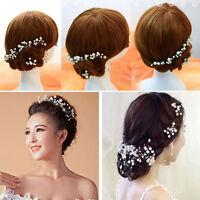 6Pcs Wedding Bridal bridesmaid Pearl Flower Headpiece Hair Pin Hairpin Elegant