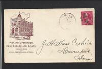 HARLAN,IOWA,1899 ILLUST BUILDING ADVT COVER. PICKARD & PETERSON,REAL ESTATE.