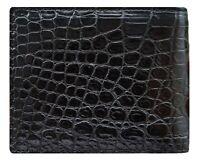 Black Genuine Alligator Crocodile Leather Men Wallet Bifold Skin Exotic Animal