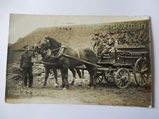 WORLD WAR ONE ERA REAL-PHOTOGRAPH POSTCARD SOLDIERS HORSE-DRAWN WAGON F808/22