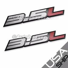 2 - BRAND NEW 3.5L Aluminum Embossed Adhesive Badge Emblems 350z 3.5L Silver Red