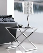 Lily Polished Stainless Steel Side Table With Black Tempered Glass(SPECIAL OFFER