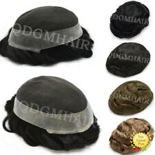 French Lace Mens Toupee Poly Around Hairpiece Human Hair Replacement System Wigs
