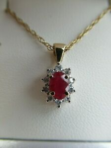 Sparkling 9ct Gold Ruby and Diamond Pendant Necklace