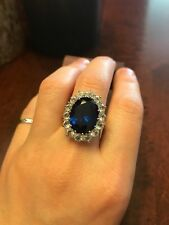 14K Solid White Gold 3.48 Ct Real Diamond Blue Sapphire Ring Princess Diana T
