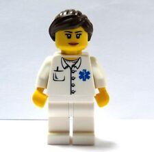 Lego City Girl Female Nurse Minifigure Figure Brown Hair Hospital Rescue Doctor