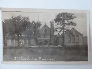 ST MARK'S CHURCH PLUMSTEAD LONDON REAL-PHOTO POSTCARD A H BARKWAY EARLY (20TH S4