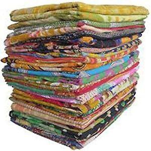 Indian Vintage Handmade Cotton Kantha Quilt Bedding Bedspread Coverlet Blanket
