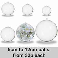 Clear Plastic Acrylic Balls 50mm - 120mm 2 part Spheres Baubles Craft Decoration