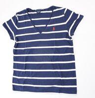 Ralph Lauren Pima Cotton T-Shirt Damen Gr.M blau gestreift V-Ausschnitt -S1182