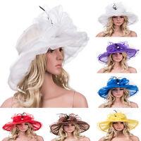 New Womens Pearl Flower Cap Derby Wide Brim Sun Dress Church Wedding Hat A342