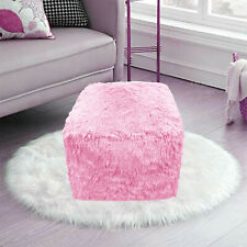 PINK Cube Bean Bag Foot Rest Stool Pouf Living Room Footstool Teddy Chunky Pouf