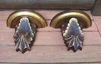 Antique Victorian Era Hand Carved Wood Corbel Wall Shelf Pair Gold Gilt Paint
