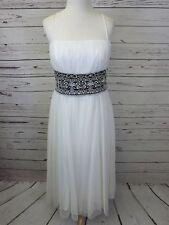 Oleg Cassini OC by OC Size 12 White Tulle Black Trim Dress