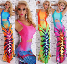 Damen Maxi Kleid Bodenlang Cut Out Strand Cocktail Party Mega Print Sexy Rücken
