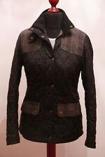 £149 Ladies Barbour Iris Quilted smart black jacket with tweed trim size UK 10 8