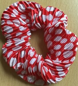 A Red With White Spots Pleated Satin Scrunchie Ponytail Band / Bobble