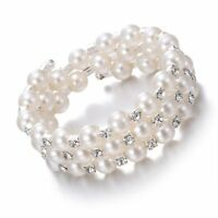 1Pc Fashion Women Lady Pearl Cuff Bracelet Crystal Bangle Jewelry Wedding Gifts