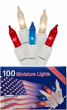100 RED WHITE and BLUE CHRISTMAS Lights Minature July 4th Patriotic Mini Light