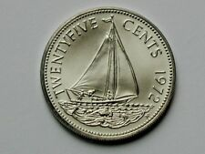 Bahamas 1972 FM 25 CENTS Coin GEM UNC Matte-Lustre with Ocean Sailboat
