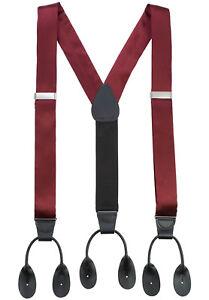 Suspenders Men Fancy Solid / Designed Silk Satin Button End - 8 Colors 4 Designs