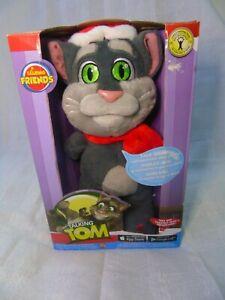 "RARE Talking Friends Talking Tom Christmas Cat Plush Santa Hat & Scarf 12"" New"