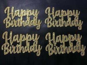 Cupcake Toppers Happy Birthday party cake decorations Gold Glitter Pack of 6