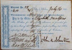 Hoboken, NJ 1861 Civil War Relief Warrant-JOHN R JOHNSTON Mayor Autograph/Signed