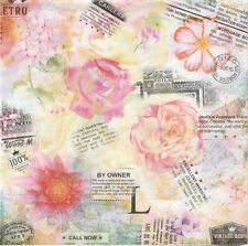 2 Serviettes en papier Fleur rose et journal Paper Napkins Flowers writing