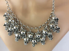 Antique Silver Effect Vintage Punk Gothic Skull Pendant Chain Necklace Jewellery