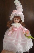 "Flower Fairy Doll w Stand Pink All Porcelain  Delton  6.5"" New"