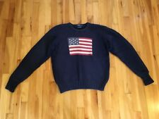 Vintage POLO by Ralph Lauren Sz L USA American Flag 100% Cotton Sweater - Navy