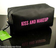 Kate Spade Bon Voyage Medium Davie Kiss & Makeup Case Black & Pink MSRP$60 NWT