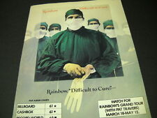 RAINBOW is Difficult To Cure ...on the charts 1981 PROMO POSTER AD mint cond
