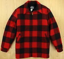 vtg usa made WOOLRICH wool blend jacket XLT long red buffalo plaid fleece lined