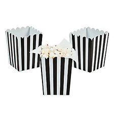 MOVIE NIGHT PARTY Black Striped Gift Box Mini Popcorn Boxes Pack of 6 Free Post