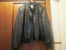 SADDLERY Heavy Black Leather Biker Bomber Jacket-Snap Pkts-Zip In Hood-Men 42