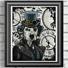 Dog Print Vintage Dictionary Page Wall Art Picture Steampunk Animal Dalmatian