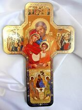 "Holy Family wall cross wood type with gold highlighted Iconic picture .7"" x 5"""