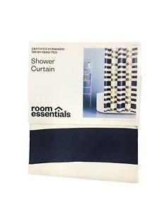 Room Essentials Blue Green & Tan Stripe Fabric Shower Curtain, Bath Decor