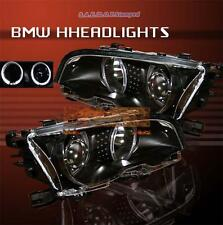 1999-2001 BMW 325/330 E46 PROJECTOR HEADLIGHTS TWIN HALO 2DR 2000 BLACK AMBER