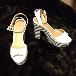 Madden Girl Women's Shoes Barronn White Peep Toe Heels Size 8.5 NWOB