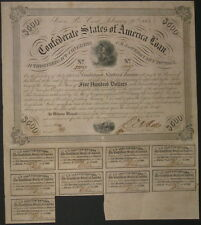 $500 Confederate Bond, Act of Feb. 20, 1863, Soldier at Campfire, 9 coupons
