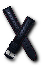 19 mm black/red sports perforated leather watch strap to fit Heuer Carrera