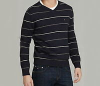 NEW TOMMY HILFIGER MENS PACIFIC STRIPE V-NECK SWEATER
